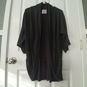 Gray open drape cardigan